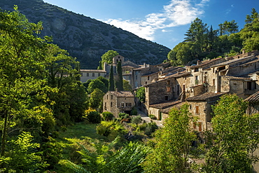 The medieval mountain village of Saint-Guilhem-le-Desert on the Way of St. James, Herault, Languedoc, Occitanie, France, Europe