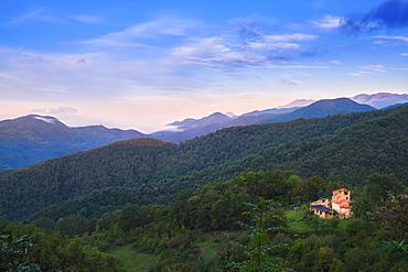 View over the La Garrotxa Volcanic Zone Natural Park towards the foothills of the Pyrenees, Garrotxa, Girona, Catalonia, Spain, Europe