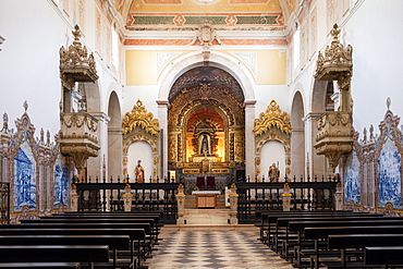 Baroque Interior of the Espinheiro Convent chapel, Evora, Alentejo, Portugal, Europe