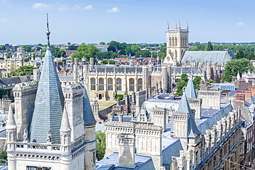 High angle view of the skyline of the city of Cambridge showing university buildings in Caius, Trinity and St John's colleges, Cambridge, Cambridgeshire, England, United Kingdom, Europe