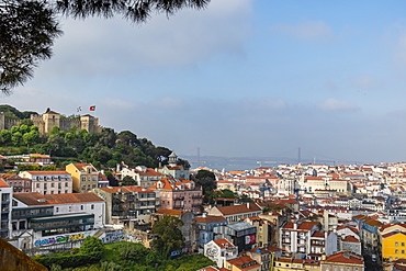 View of the castle and downtown Lisbon, Portugal, Europe