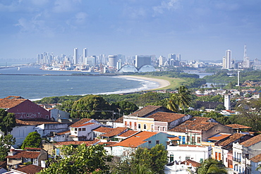 Olinda the historic centre, UNESCO World Heritage Siite, with the city of Recife in the distance, Pernambuco, Brazil, South America