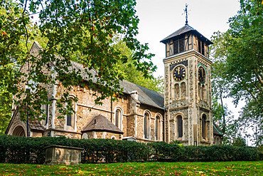 The medieval church and graveyard of Old St. Pancras, Kings Cross, London, England, United Kingdom, Europe
