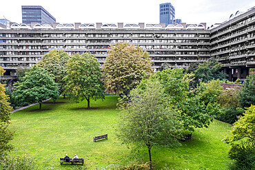 Barbican housing Estate, elevated view of Barbican Speed Garden park, brutalist architecture, residential apartments
