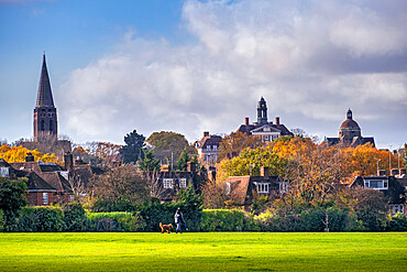 Barnet, Hampstead Garden Suburb, skyline of the early 20th Century suburb, spire of St. Jude's, residential housing, Autumn