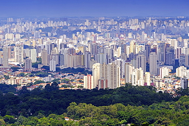 View of Sao Paulo city from the Serra da Cantareira State Park, Sao Paulo, Brazil, South America