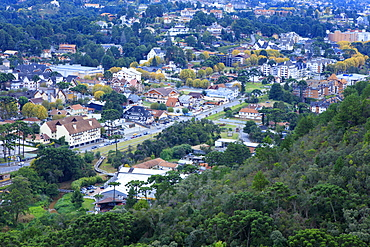 View of the town of Campos do Jordao, a popular weekend resort in the mountains near Sao Paulo, Brazil, South America