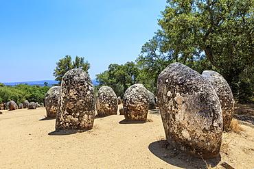 The Cromlech of the Almendres megalithic stone circle near Evora, Alentejo, Portugal, Europe