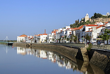 View of the town of Alcacer do Sal and the Sado river, Alentejo, Portugal, Europe