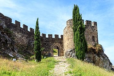 Castle of Alegrete, a dramatic Portuguese medieval hill-top village near Portalegre in the Alentejo region bordering Spain, Portugal, Europe