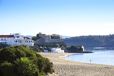 The town and town beach in Vila Nova de Milfontes on the Alentejo coast, Portugal, Europe