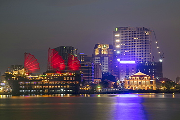 The view of the port area and the Saigon River in Ho Chi Minh City (Saigon), Vietnam, Indochina, Southeast Asia, Asia