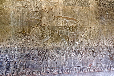 Bas relief of the commander of the vanguard riding an elephant and the army of King Suryavarman II at Angkor Wat, UNESCO World Heritage Site, Siem Reap, Cambodia, Indochina, Southeast Asia, Asia