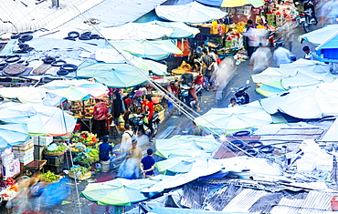 Elevated view of a busy covered market in Phnom Penh, Cambodia, Indochina, Southeast Asia, Asia
