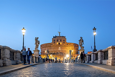 The Mausoleum of Hadrian (Castel Sant'Angelo) (Saint Angelo's Castle) and Saint Angelo Bridge, Parco Adriano, UNESCO World Heritage Site, Rome, Lazio, Italy, Europe