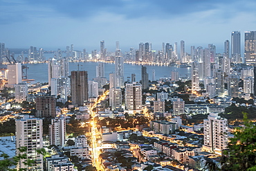 Skyline of downtown Cartagena city showing modern apartment blocks in the Bocagrande neighbourhood, Cartagena, Colombia, South America