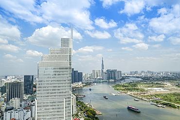 View of the city skyline and the Saigon River, Ho Chi Minh City, Vietnam, Indochina, Southeast Asia, Asia
