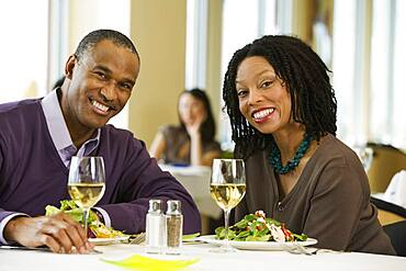 African American couple at restaurant