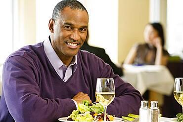African American man at restaurant