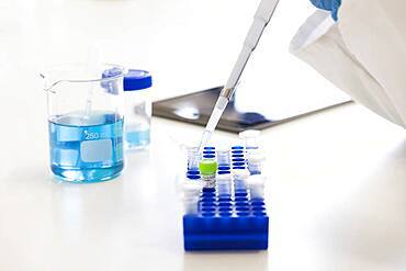 Mixed race scientist pipetting liquid into test tubes in laboratory