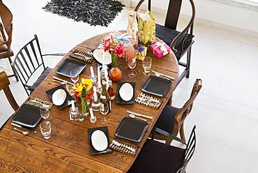 High angle view of dining room table