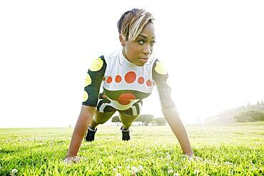 Black woman doing push