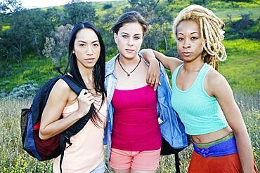 Women standing in field