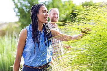 Woman examining tall plants in garden