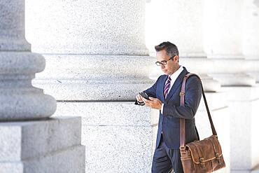 Mixed race businessman using cell phone under columns