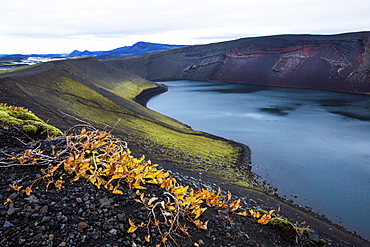 High angle view of volcanic rock and river in remote landscape