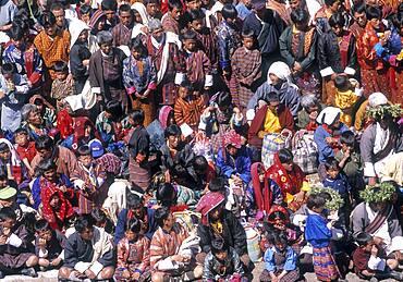 Overhead view of crowd celebrating Paro Festival, Paro, Paro District, Bhutan