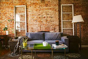 Coffee table and sofa in modern living room