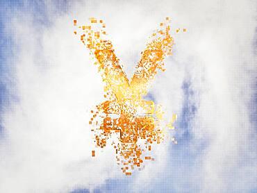 Pixelated yen sign in sky