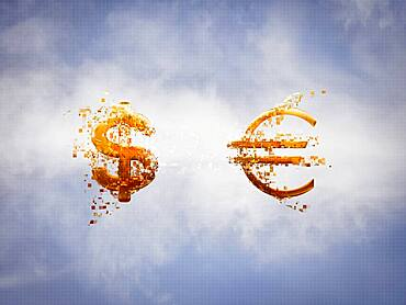 Pixelated dollar and Euro signs in sky