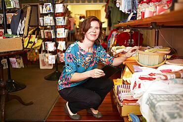Caucasian woman shopping in store