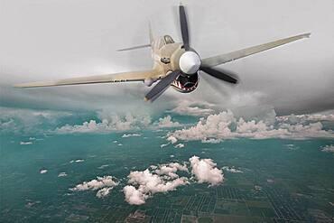 Historical plane flying in sky