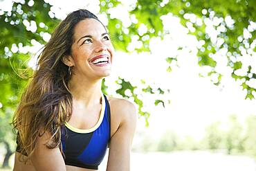 Mixed race woman smiling outdoors