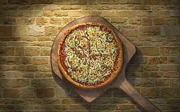 High angle view of pizza on peel