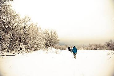 Caucasian hikers walking in snow
