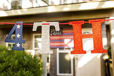 Close up of 4th of July banner decoration
