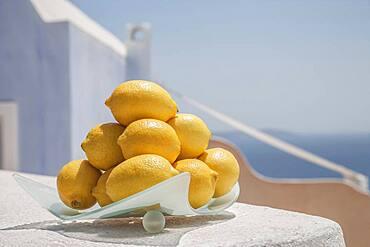 Close up of plate of lemons