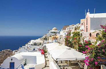 Santorini cityscape under blue sky, Cyclades, Greece