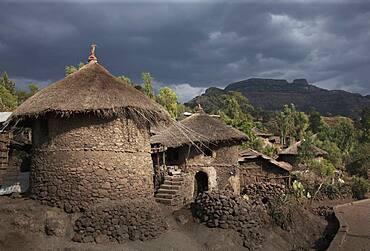 Village huts on remote hillside