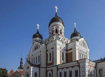 Ornate church under blue sky, Tallin, Harju County, Estonia