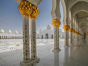 Ornate domed building and colonnade, Abu Dhabi, Abu Dhabi Emirate, United Arab Emirates