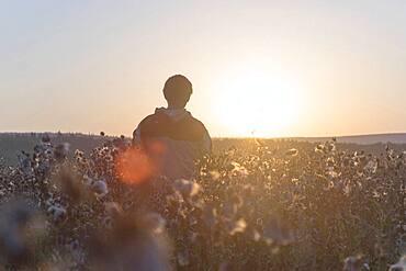 Mari man standing in field