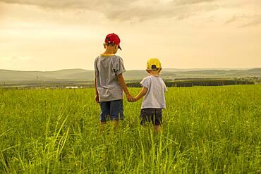 Mari brothers exploring in rural field