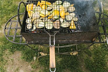Vegetables cooking on grill