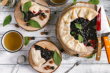 Blueberry pie on wooden table