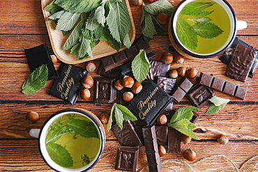 Premium quality chocolate near green tea